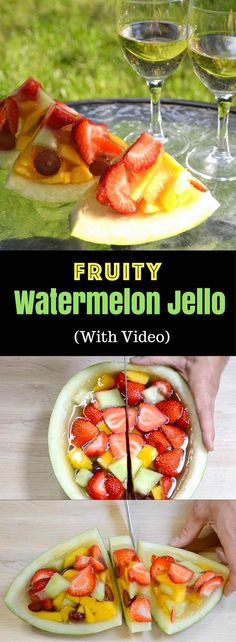 Fruit Watermelon Jello Shots – the most amazing and beautiful summer party food! All you need is some simple ingredients: watermelon, mango, strawberries, melon, rum and gelatin. No bake, and easy recipe. Video recipe. | Tipbuzz.com