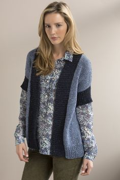 5c4ed5948b337 ... cuffs and front bands give a tweedy contrast to this relaxed vest in  denim-y shades of TARA TWEED. Available in sizes Small (Medium