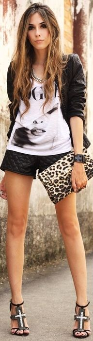 5f47e774b8a Black shorts made from quilted faux leather paired with black and white  Vogue T-shirt