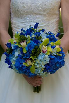 Wedding bouquet- blue Hydrengia mix and green cymbidium orchid,- Beautiful bridal bouquet - nosegay bouquet style