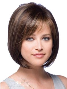 Brown-hair-blonde-highlights-straight-short-bob-hair-Wigs-2015-Heat-Resistant-synthetic-u-part-wig.jpg (452×594)