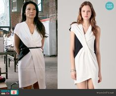 Joan's white and black pleated dress on Elementary.  Outfit Details: http://wornontv.net/54955/ #Elementary