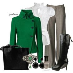 Cute business outfit and jacket cut, maybe in a color other than green. Mode Outfits, Fall Outfits, Casual Outfits, Fashion Outfits, Womens Fashion, Fashion Trends, Fashionista Trends, Classy Outfits, Beautiful Outfits