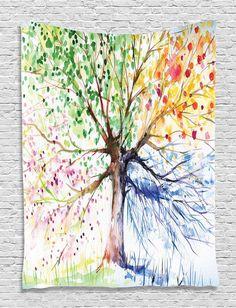 Watercolor Four Season Tree Twin Bedspread Wall Tapestry