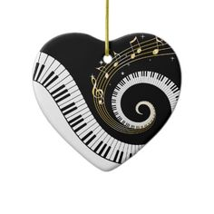 Piano Keys and Gold Music Notes Ornament