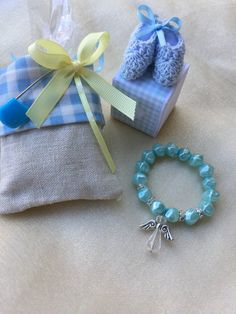 Light blue and pink bracelets Flower girl by Rosariesaccessories