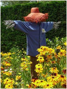 Farm:  #Scarecrow.                                                                                                                                                     More Farm Life, Make A Scarecrow, Scarecrow Garden, Scarecrow Ideas, Country Roads, Country Life, Farms Living, Garden Gates, Garden Art