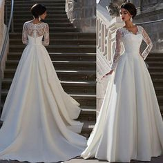 New satin&lace Long Sleeve Bridal Gown White/Ivory Wedding Dresses Custom Size