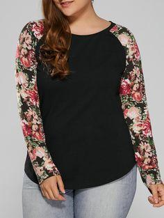 $8.62 for Plus Size Floral Raglan Sleeve Tee in Black | Sammydress.com
