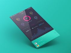Mobile app designs featuring charts, graphs and data