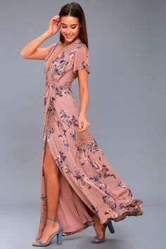 Lulus Exclusive! Add some romance to your everyday look in the Fiorire Rusty Rose Floral Print Wrap Maxi Dress! Ultra-soft, textured, woven fabric, with a romantic pink, blue, and red floral print, drapes into a surplice bodice, framed by fluttering short sleeves, with slits. Wrap maxi skirt has a tying waist sash.