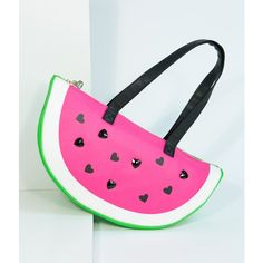 Betsey Johnson Pink Watermelon Slice Leatherette Cooler Purse ($48) ❤ liked on Polyvore featuring bags, handbags, pink, handbag purse, betsey johnson purses, betsey johnson tote, pink tote handbags and handbags totes