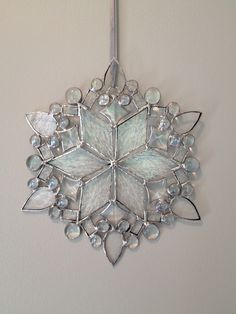 Snowflake for Cindy 2013 Stained Glass Ornaments, Stained Glass Christmas, Stained Glass Suncatchers, Stained Glass Lamps, Stained Glass Designs, Stained Glass Panels, Stained Glass Projects, Stained Glass Patterns, Leaded Glass