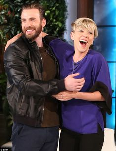 Scarlett Johansson scared by Avengers' Chris Evans on Ellen Degeneres show | Daily Mail Online