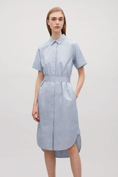 COS image 4 of Belted shirt dress in Dusty Blue