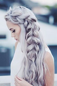Gorgeous thick braid hairstyle that is perfect for every day or a special occasion! This pull-through braid is created with custom coloured Ash Blonde Luxy Hair Extensions for that amazing thickness and length. We ♥ it! Photo credit: @KirstenZellers