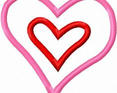 Digitizing Dolls Double Layer Heart 2 Applique Machine Embroidery Design 4x4 5x7 Valentines Day Love