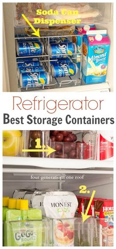 Keep your fridge organized with these ideas! Organize Your Refrigerator {best storage containers} via Four Generations One Roof