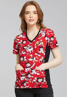 Tooniforms 'V-Neck Knit Panel Top' Scrub Top Heritage Mickey Cute Scrubs Uniform, Cherokee Woman, Cherokee Scrubs, Scrub Tops, Work Wear, Fashion Brands, Floral Tops, V Neck, Couture