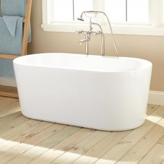 "Length: 51-1/4"" Width: 25-3/4"" Height: 19-3/4"" Tub Interior Length: 38-1/2"" Tub Interior Width: 17"" Water Depth to Rim: 15-1/2""51"" Boone Acrylic Freestanding Tub"