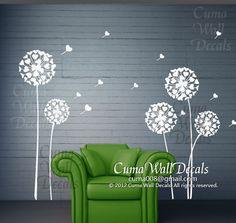 Flower tree wall decal dandelion Vinyl wall decal by cuma on Etsy, $62.00