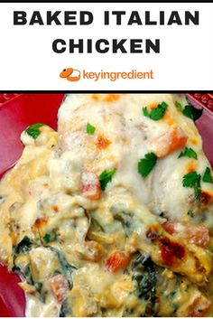 ONE-POT MEALS; Baked Italian Chicken. Find out more at:https://www.keyingredient.com/recipes/1435285033/baked-italian-chicken/