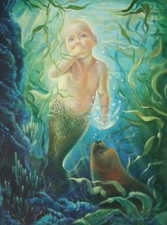 "I have a secret, a lovely tale, while swimming with dolphins on the Big Island of Hawaii I heard legends of mermaids. Painting is ""The Mermaid Baby"" 18x24 oil on canvas by Kathy Ostman-Magnusen"