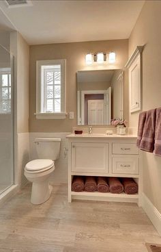 Vanity with space for towels and flooring