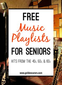 Music therapy Music has been proven to be very beneficial for the elderly in long term care, particularly those living with dementia or Alzheimer's Disease. Here are some wonderful free playlists of famous songs from the Alzheimer Care, Dementia Care, Alzheimer's And Dementia, Dementia Crafts, Alzheimer's Dementia, Assisted Living Activities, Nursing Home Activities, Senior Citizen Activities, Elderly Activities