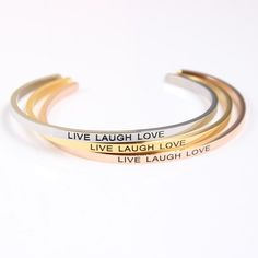 NEW Mantra Bracelts! Available in Silver, Gold + Rose Gold! ❤️ Wear daily as a reminder, affirmation + inspiration! solemate-mt.com #solemateMT #mantrabracelets #mantra #live #laugh #love #affirmation #inspiration #reminder #jewelry #bracelets #accessories