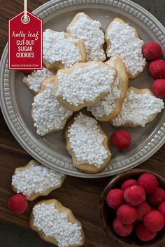 Snow Covered Holly Leaf Cut Out Sugar Cookie and Royal Icing Recipe