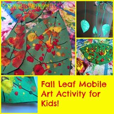Fall kids' art activity! Paint splatter leaf mobile craft for children. Make paper leaves and try a Jackson Pollock abstract art technique.