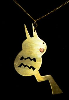 Pokemon Pikachu Pendant Handmade Metalwork by SideRealArts, $25.00