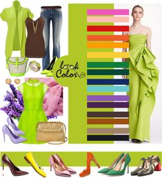 Color Wheel Fashion, Colour Combinations Fashion, Color Combinations For Clothes, Fashion Colours, Color Combos, Lime Green Outfits, Green Skirt Outfits, Vestidos Verde Lima, Color Type