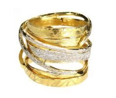 Gold plated sterling silver crossover wrap ring by silverjewelrygr Customize multi band crossover silver ring black rhodium rose gold yellow gold plated white silver