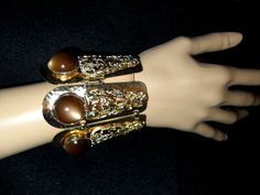 1955 Napier flexible gauntlet bracelet  rich brown Moonglow cabochons FREE ship  #Napier #RunwayRetroMassiveMythical