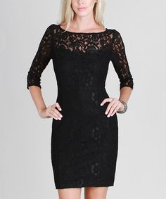 Another great find on #zulily! Black Lace Three-Quarter Sleeve Dress #zulilyfinds
