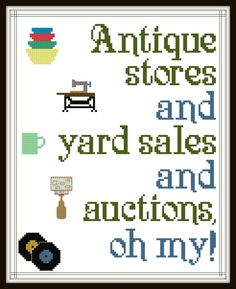 Cross Stitch Pattern - Antique Stores and Yard Sales and Auctions Oh My! - #pyrex #vintagepyrex #jadeite #midcentury #mcm #records