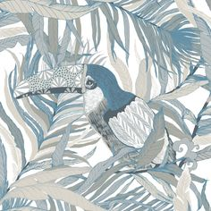 A gorgeous contemporary wallpaper design of stylised toucan.