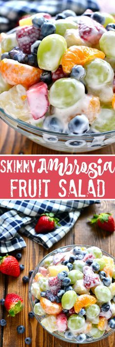 This Skinny Ambrosia Fruit Salad combines 5 types of fruit with a sweetened Gree. - Banana This Skinny Ambrosia Fruit Salad combines 5 types of frui Best Fruit Salad, Fruit Salad Recipes, Fruit Fruit, Yogurt Fruit Salad, Recipes With Fruit And Vegetables, Dessert Recipes, Jello Salads, Strawberry Fruit, Fruit Dessert