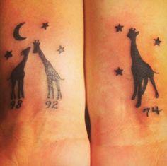 My giraffe tattoos. Me and my daughters birth years! #giraffe #tattoo #giraffelove