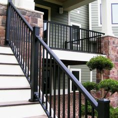 Get inspiration for your deck project by browsing our fabulous Afco Aluminum Railing photo gallery. Afco Aluminum Railing features textured finishes and easy to install straigt and stair railing sections. Porch Railing Kits, Aluminum Porch Railing, Porch Handrails, Exterior Stair Railing, Porch Railing Designs, Deck Railing Systems, Aluminum Handrail, Wood Deck Railing, Deck Balusters