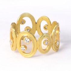 Barbara Heinrich at Patina Gallery. Ring, 18K Yellow Gold, Open Oval with Scattered Diamonds, .35 cttw