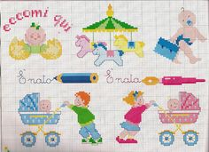 Tantissimi schemi punto croce facili facili con fiori, porcellini, pesciolini, Paperino, Pippo e Pluto per rendere colorato e divertente il corredino del nostro bambino Tiny Cross Stitch, Cross Stitch Charts, Baby Elefante, Minnie Baby, Pixel Art Templates, Diabetic Dog, Dog Snacks, Embroidery Stitches, Cross Stitches