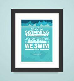 "Items similar to Disney - Finding Nemo ""Keep On Swimming Poster"": Art Print, Dory on Etsy Childrens Bathroom, Bathroom Kids, Bathrooms, Modern Outdoor Decor, Swimming Posters, Nursery Themes, Nursery Ideas, Disney Rooms, Swim Lessons"