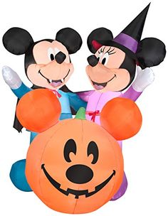 airblown inflatables disney mickey mouse and minnie mouse with pumpkin scene halloween decoration