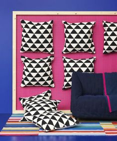 Pump up the pattern play in your home with these new IKEA cushion cover. Home Interior Design, Interior Styling, Mezzanine Bed, Black And White Cushions, Ikea New, Natural Cushions, Pink Home Decor, Vogue Living, Makeover Tips