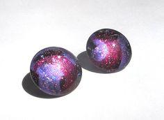 Clip-On Modern Purple Brushstroke Earrings  by TheGlitorisShop