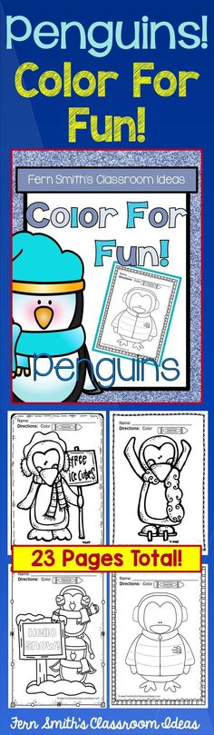 Penguin Fun! Color For Fun Penguin Printable Coloring Pages! This Color For Fun is Perfect for Any Penguin or Winter Unit! {23 coloring pages equals less than 10 cents a page.} #TpT $Paid #FernSmithsClassroomIdeas