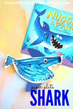 Turn a simple paper plate half into a SHARK! Simply cut a paper plate in half, paint it and add cardstock pieces to bring it to life! Paper Plate Shark Kid Craft Idea Find more simple kid craft ideas on Glued To My Crafts!